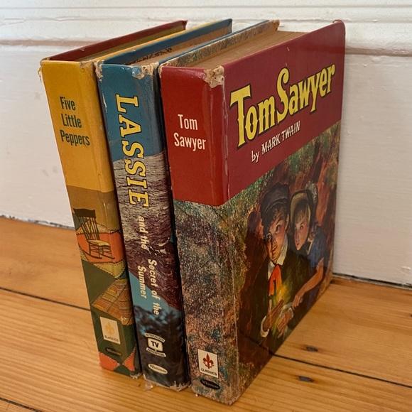 Vintage Other - 3 Vtg Books Tom Sawyer Lassie Five Little Peppers